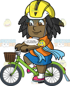 Young Lisa Riding Her Green Bike. A young black girl wearing a yellow helmet, a blue skirt, an orange shirt, blue scarf, and pink shoes, riding her green bike with a basket in the front