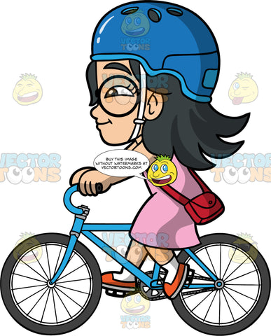 Young Lynn Riding Her Bike To The Store. An Asian girl wearing a blue bicycle helmet, a pink dress, a red purse, and orange shoes, going for a bike ride on her blue bicycle