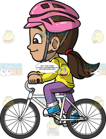 Young Isabella Going For A Bike Ride. A Hispanic girl wearing a pink helmet, purple pants, a long sleeve yellow shirt, and blue sneakers, riding around on her white bicycle