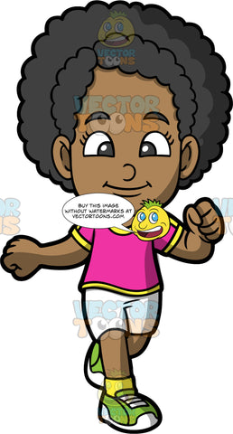 Young Jackie Enjoying Some Fresh Air While Out On A Run. A black girl wearing white shorts, a pink with yellow shirt, and green running shoes, going for a run to get some exercise
