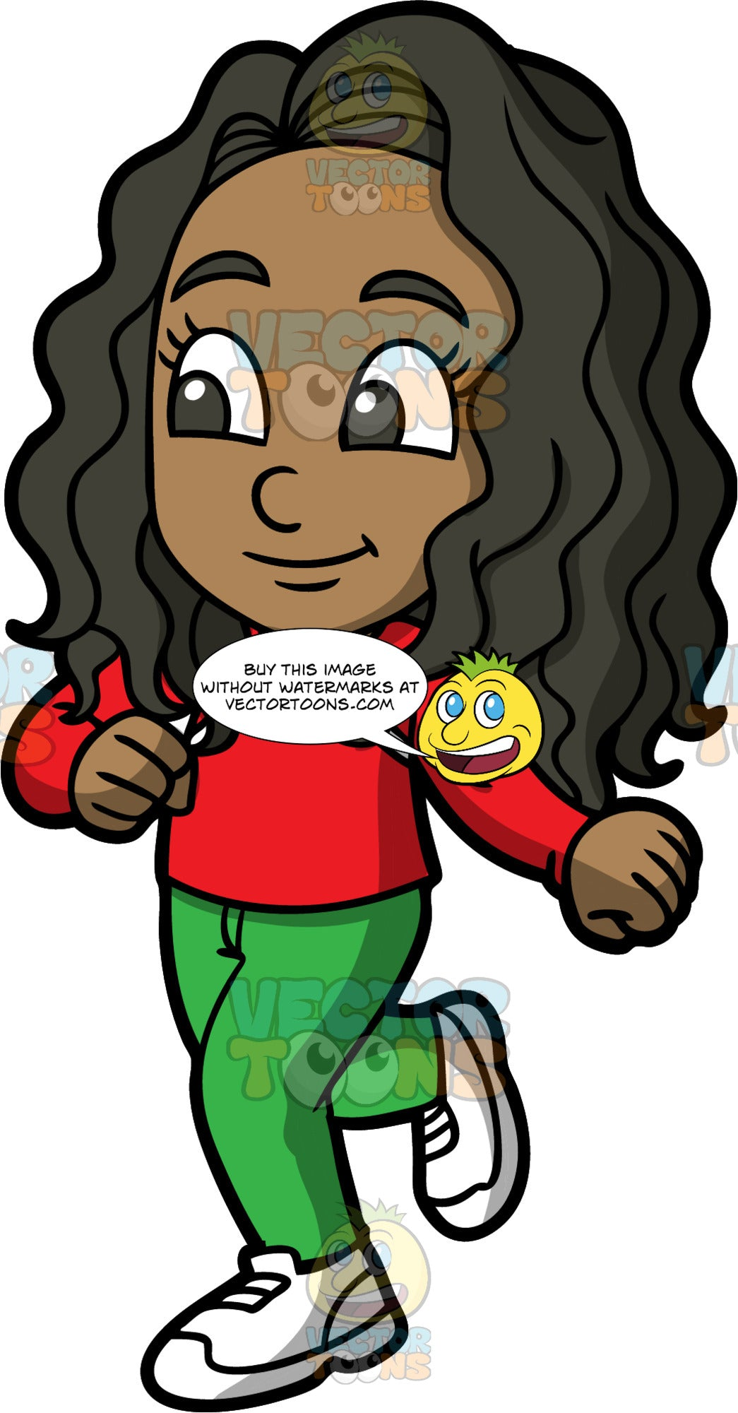 Young Maggy Going For A Jog. A black girl wearing green pants, a long sleeve red shirt, and white running shoes, getting some exercise by going for a jog