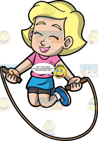 Young Mary Having Fun Skipping Rope. A cute little blonde girl wearing a blue skirt, a pink t-shirt, and blue sneakers, smiles and closes her eyes as she jumps over a skipping rope
