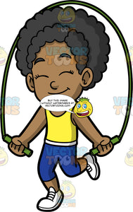 Young Jackie Playing Jump Rope. A cute black girl wearing dark blue pants, a yellow tank top, and white running shoes, smiling and closing her eyes as she skips rope