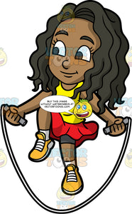Young Maggy Skipping Over A Rope . A pretty young black girl wearing a red skirt, a yellow tank top, and yellow running shoes, jumping over a skipping rope