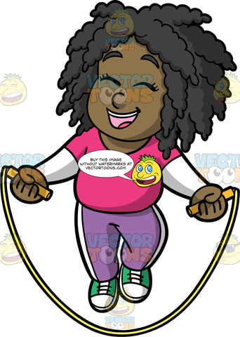 Young Lisa Laughing While Jumping Rope. A young black girl wearing lavender track pants, a pink t-shirt over a long sleeve white shirt, and green sneakers, laughs and closes her eyes while skipping rope