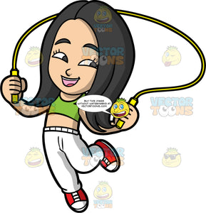 Young Connie Having Fun Skipping Rope. A young Asian girl wearing white track pants, a green crop top, and red and white sneakers, swinging a jump rope over her head while skipping