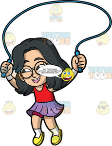 Young Lynn Smiles While Jumping Rope. A cute Asian girl wearing a purple skirt, a red tank top, yellow shoes, and round eyeglasses, smiles as she plays with her blue skipping rope