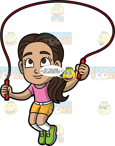 Young Isabella Playing With Her Skipping Rope. A young Hispanic girl wearing yellow shorts, a pink t-shirt, and green running shoes, jumping over her red skipping rope