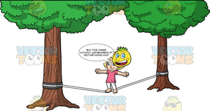 Young Mary Trying To Balance On A Slackline. A young blonde girl wearing white pants and a pink shirt, holding her arms out and balancing on one foot as she tries to walk across a slackline