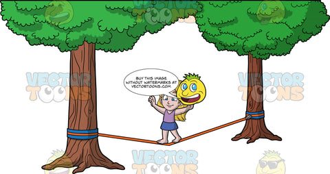 Young Stacey Learning How To Slackline. A young girl wearing a blue skirt and a lavender tank top, trying to keep her balance as she walks across a slackline tied between two trees