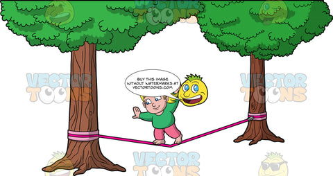 Young Pat Walking Across A Slackline. A chubby blonde girl wearing pink pants and a long sleeve green shirt, trying to get to the end of a slackline tied between two trees
