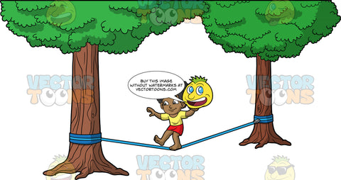 Young Jackie Making Her Way Across A Slackline. A young black girl wearing red shorts and a yellow t-shrit, walking across a blue slackline