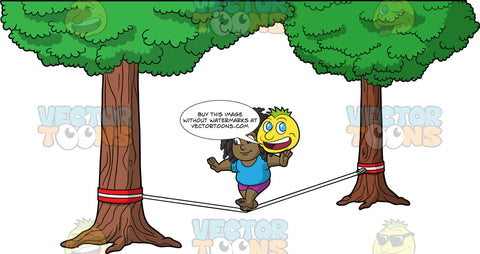 Young Lisa Balancing On A Slackline. A chubby young black girl wearing purple shorts, and a blue t-shirt, walking across a slackline tied between two trees