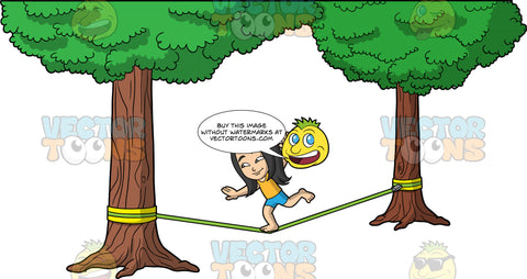 Young Connie Slacklining. A young Asian girl wearing blue shorts, and an orange tank top, balancing on one foot as she makes her way across a green slackline