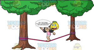 Young Lynn Balancing On A Slackline. A young Asian girl wearing white shorts, a pink t-shirt, and round eyeglasses, slowly making her way across a slackline