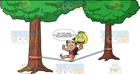 Young Isabella Trying To Do A Trick On A Slackline. A young Hispanic girl wearing orange shorts and a purple tank top bending one knee and sticking her other leg straight out as she balances on a slackline