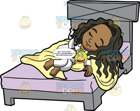 Young Maggy Sleeping Peacefully. A black girl wearing white pajamas, quietly sleeping on top of a yellow blanket and mattress with a purple sheet on it