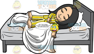 Young Connie Sleeping On Her Back. An Asian girl wearing yellow striped pajamas, sleeping on her back, lying on top of a white blanket and mattress with a gray sheet