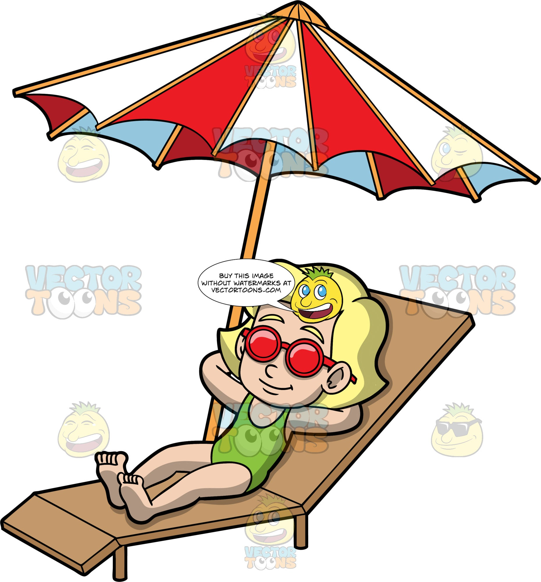 Young Mary Catching Some Rays. A blonde girl wearing a green bathing suit and red sunglasses, lying in the sun on a brown lounge chair with her arms behind her head and a red and white umbrella beside her