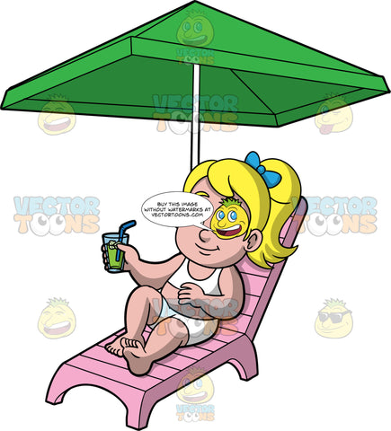 Young Pat Lying In The Sun. A blonde girl wearing a white bikini, holding a cold drink in her hand while lying on a pink lounge chair under a green umbrella