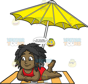 Young Lisa Relaxing In The Sun. A young black girl wearing a red bathing suit, lying on her stomach propped up on her elbows, on an orange and white striped beach towel under a yellow umbrella