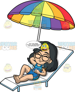 Young Lynn Sun Tanning. A young Asian girl wearing blue shorts and a blue tank top, lying on a white lounge chair with her eyes closed under a rainbow coloured umbrella