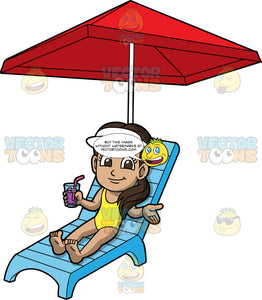 Young Isabella Lounging In The Sun. A Hispanic girl wearing a yellow bathing suit and a white sun visor, lying under a red umbrella on a blue lounge chair with a drink in one hand as she enjoys a hot Summer day