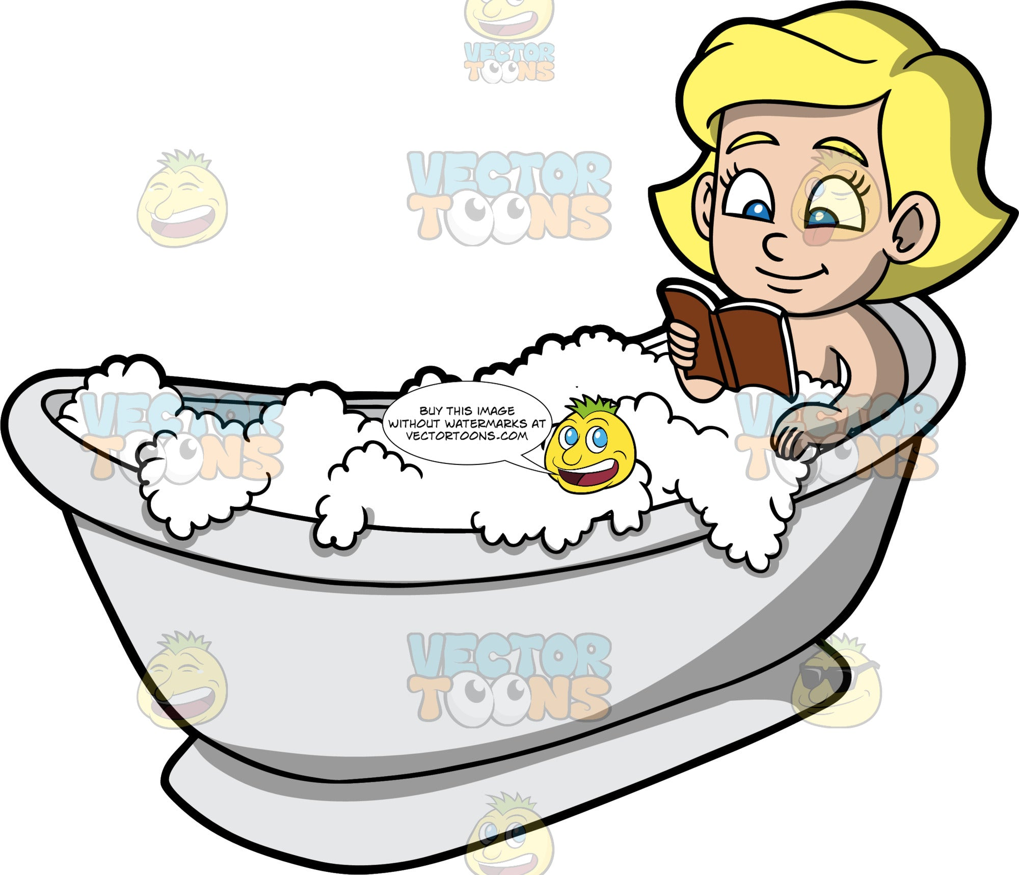 Young Mary Reading In The Tub. A blonde girl lying in a tub filled with bubbles, reading a book with a brown cover