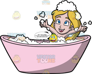 Young Stacey Having Fun In The Tub. A girl with dark blonde hair, sitting in a pink bathtub smiling and playing with the bubbles