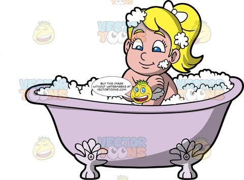 Young Pat Washing Herself In The Tub. A blonde girl sitting in a lavender bathtub filled with bubbles, using a sponge to clean herself