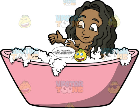 Young Maggy Having A Bath. A black girl sitting in a pink tub filled with bubbles, using a cloth to wash her arm