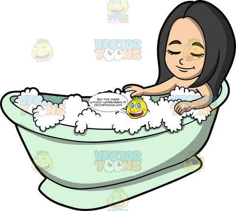 Young Connie Relaxing In The Bathtub. An Asian girl lying in a mint green bathtub filled with bubbles, closing her eyes and relaxing