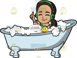Young Isabella Listening To Music While Having A Bath. A Hispanic girl sitting in a bath filled with bubbles, closing her eyes and listening to music through headphones