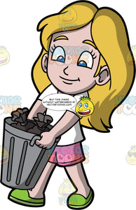 Young Stacey Taking The Trash Out. A girl wearing pink shorts, a white t-shirt, and green shoes, carrying a metal trash can filled with garbage bags