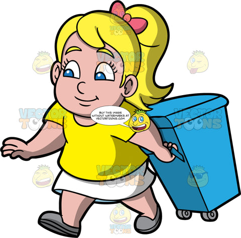 Young Pat Taking A Garbage Bin Out To The Curb. A blonde girl wearing a white skirt, a yellow t-shirt, and gray shoes, carrying a blue garbage bin on wheels out the curb