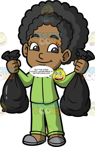 Young Jackie Taking Out The Trash. A black girl wearing green pajamas and gray slippers, taking two bags of garbage out to the curb