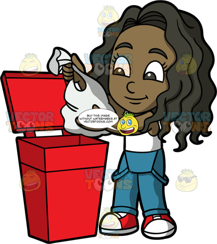 Young Maggy Throwing Out Some Garbage. A black girl wearing overalls, a white tank top, and red shoes, throwing a bag of trash into a red garbage bin