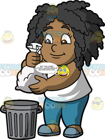 Young Lisa Throwing Out A Bag Of Garbage. A black girl wearing blue pants, a white tank top, and gray shoes, throwing a bag of garbage into a metal trash can