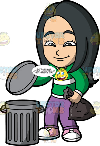 Young Connie Throwing Out A Bag Of Garbage. An Asian girl wearing purple pants, a green shirt with a white stripe, and pink shoes, putting a bag of garbage into a trash bin