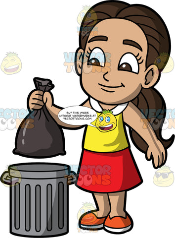 Young Isabella Throwing Out A Bag Of Garbage. A Hispanic girl wearing a red skirt, a yellow shirt with a white collar, and orange shoes, putting a bag of garbage into a metal trash can
