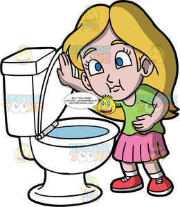 Young Stacey About To Puke In A Toilet. A young girl wearing a pink skirt, a green shirt, and red shoes, standing over a toilet as she gets ready to throw up
