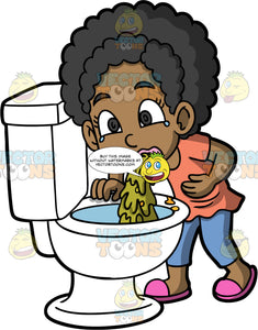 Young Jackie Throwing Up In A Toilet. A black girl wearing blue pants, a choral shirt, and pink shoes, standing over a toilet and throwing up