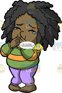 Young Lisa Trying Not To Puke. A black girl wearing lavender pants and a green shirt with a yellow stripe, standing and covering her mouth with her hands trying not to throw up