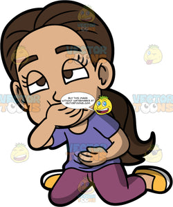 Young Isabella Trying Not To Vomit. A Hispanic girl wearing purple pants, a purple shirt, and yellow shoes, kneeling on the floor holding her stomach with one hand while covering her mouth with the other and trying not to throw up
