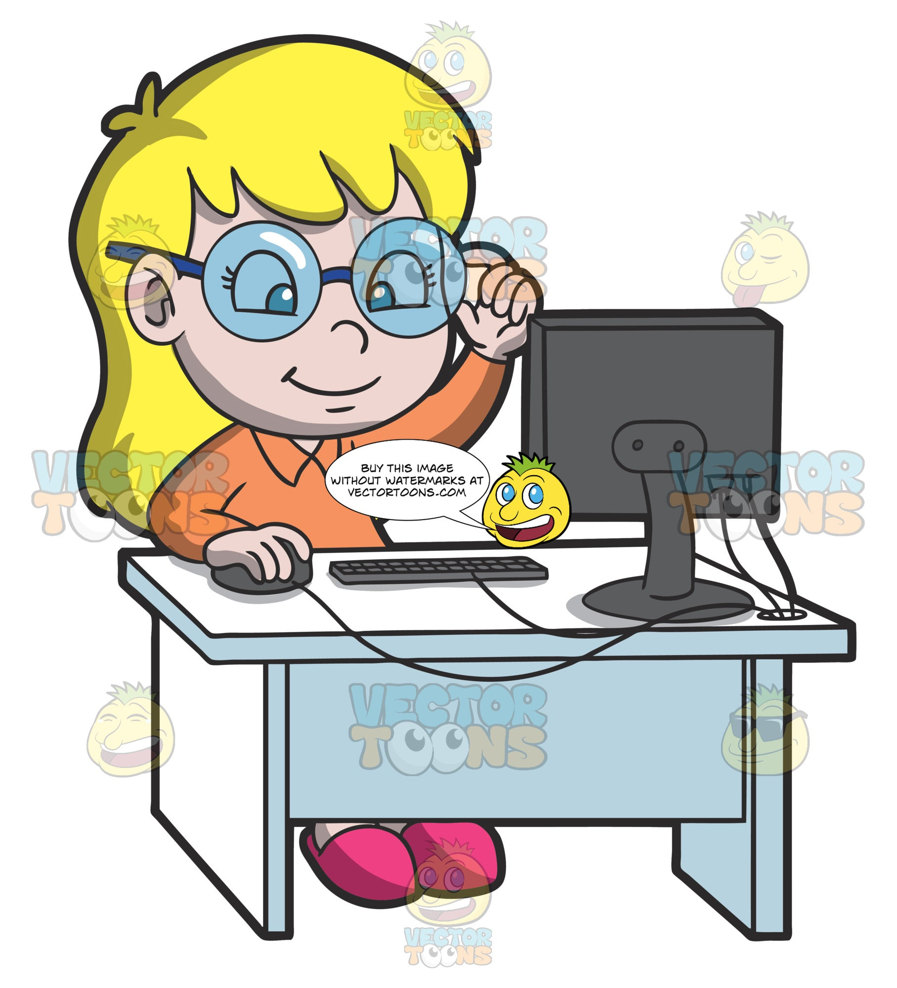 A Young Smart Girl Using The Desktop Computer For Research