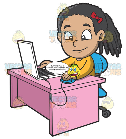 A Girl Playing Games Using Her Laptop
