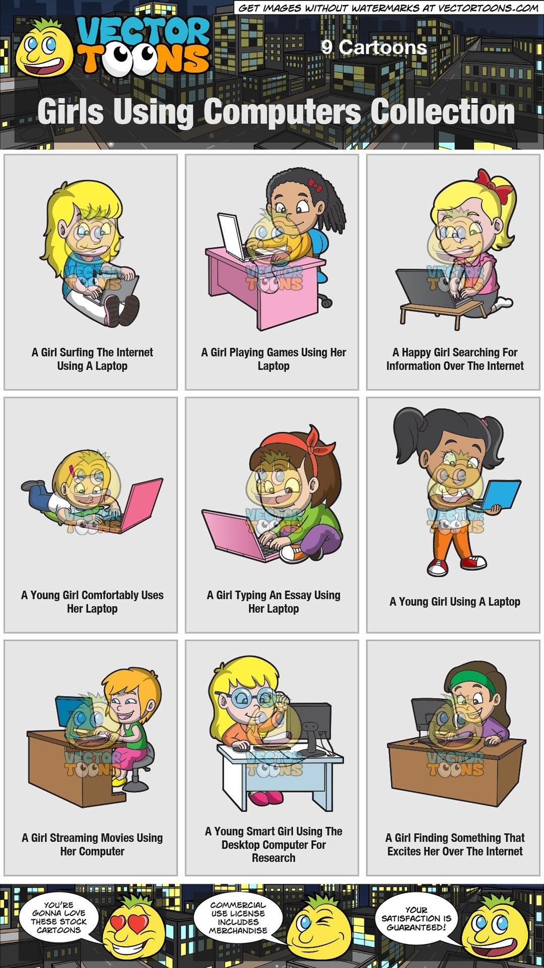 Girls Using Computers Collection