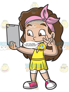 A Girl Takes A Selfie Using Her Ipad