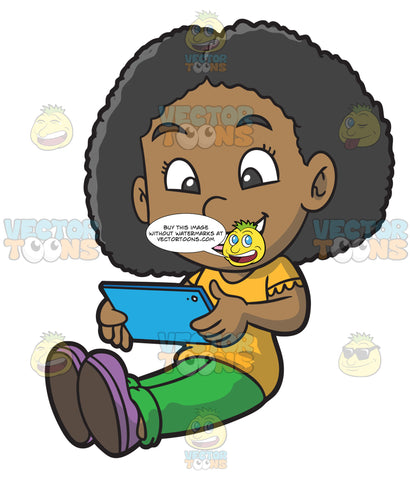 A Black Girl Happily Uses Her Mobile Tablet