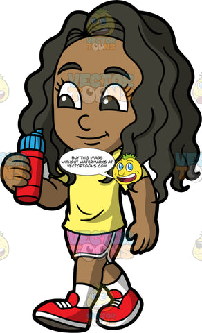 Young Maggy Going For A Long Walk. A black girl wearing pink short, a yellow t-shirt, and red running shoes, holding a water bottle while out on a walk